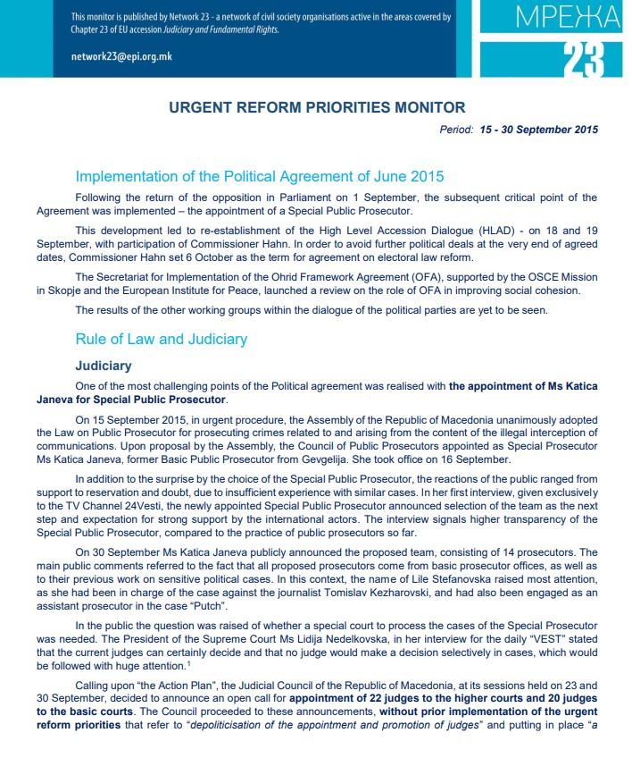 Monitoring brief on Urgent Reform Priorities