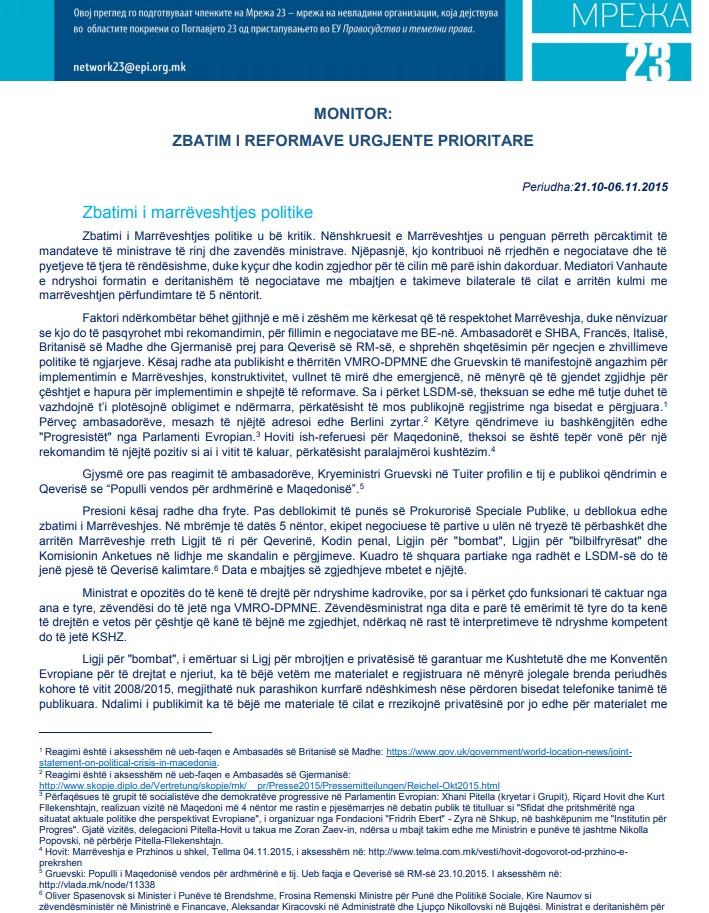 Monitoringu tretë i Zbatimit të Reformave urgjente prioritare