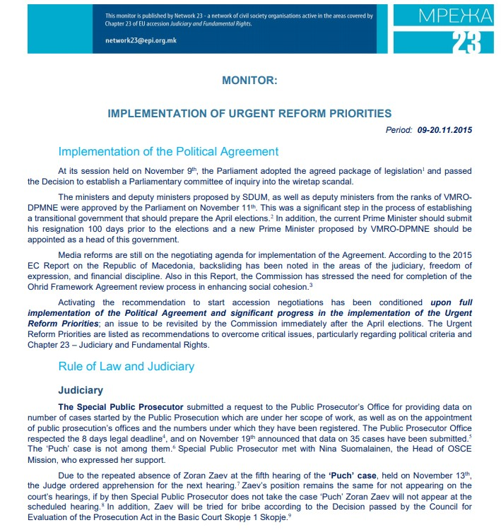 Forth monitoring report on the implementation of Urgent Reform Priorities