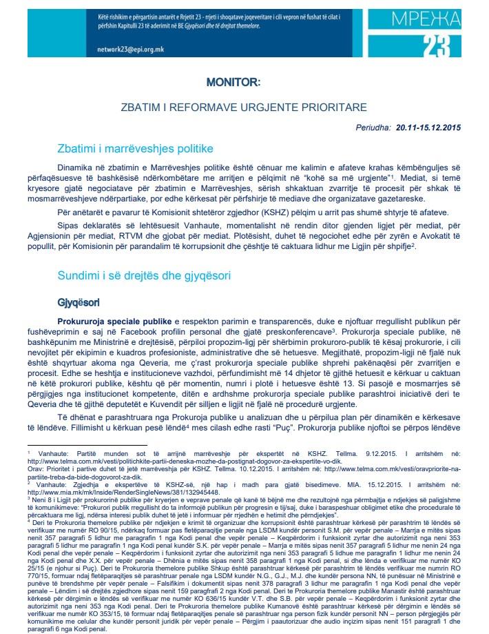 Raporti i pestë i monitoringut të Reformave urgjente prioritare