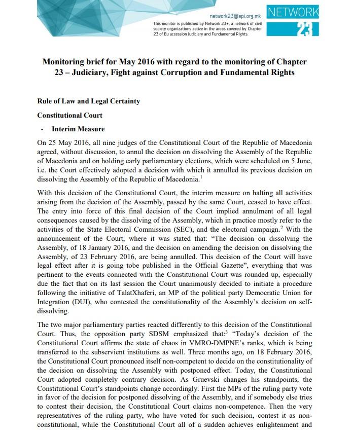 Monitoring brief on Chapter 23 – Judiciary and Fundamental rights for May 2016