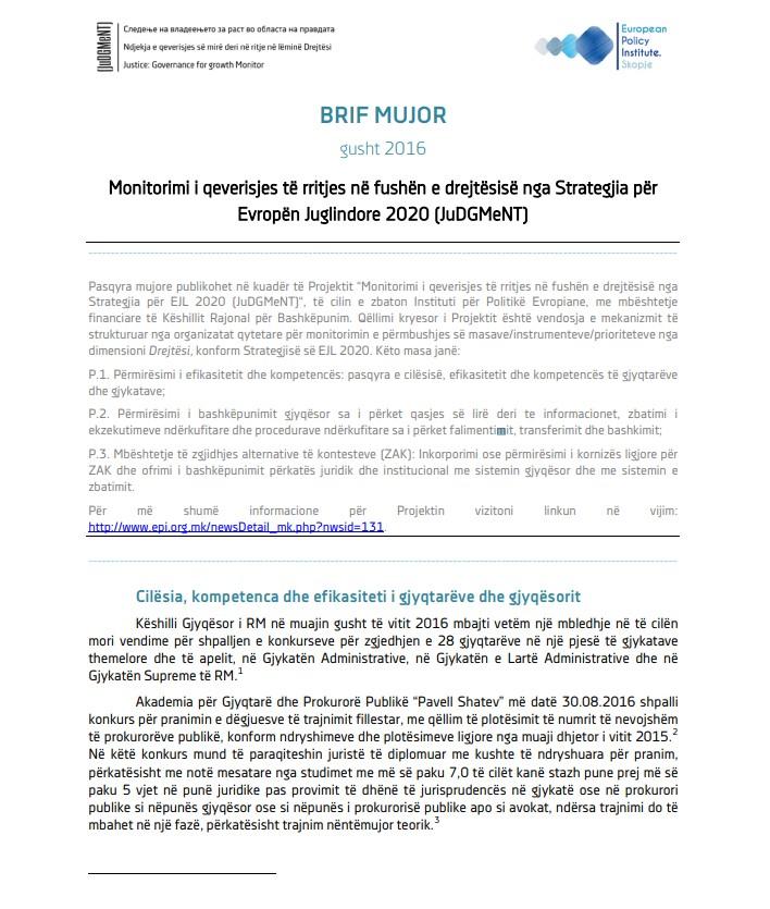 Pasqyrat për muajin gusht të vitit 2016 nga monitorimi i zbatimit të Strategjisë për Evropën Juglindore 2020, dimensioni Drejtësi
