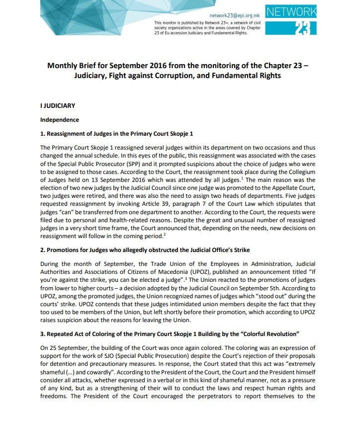 Monitoring brief on Chapter 23 – Judiciary and Fundamental rights for September 2016