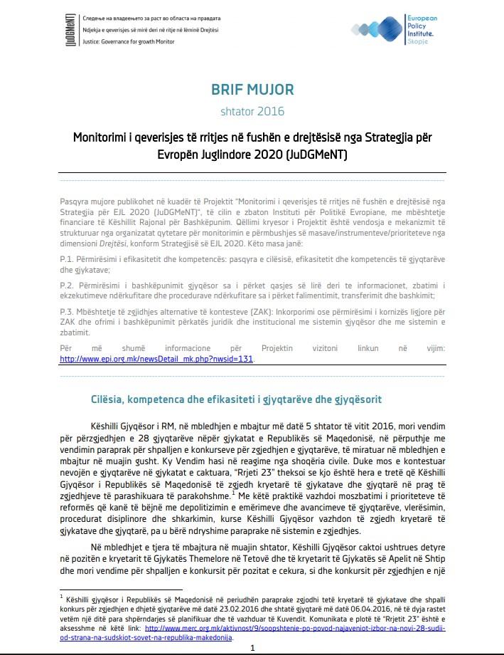 Pasqyrat për muajin shtator të vitit 2016 nga monitorimi i zbatimit të Strategjisë për Evropën Juglindore 2020, dimensioni Drejtësi