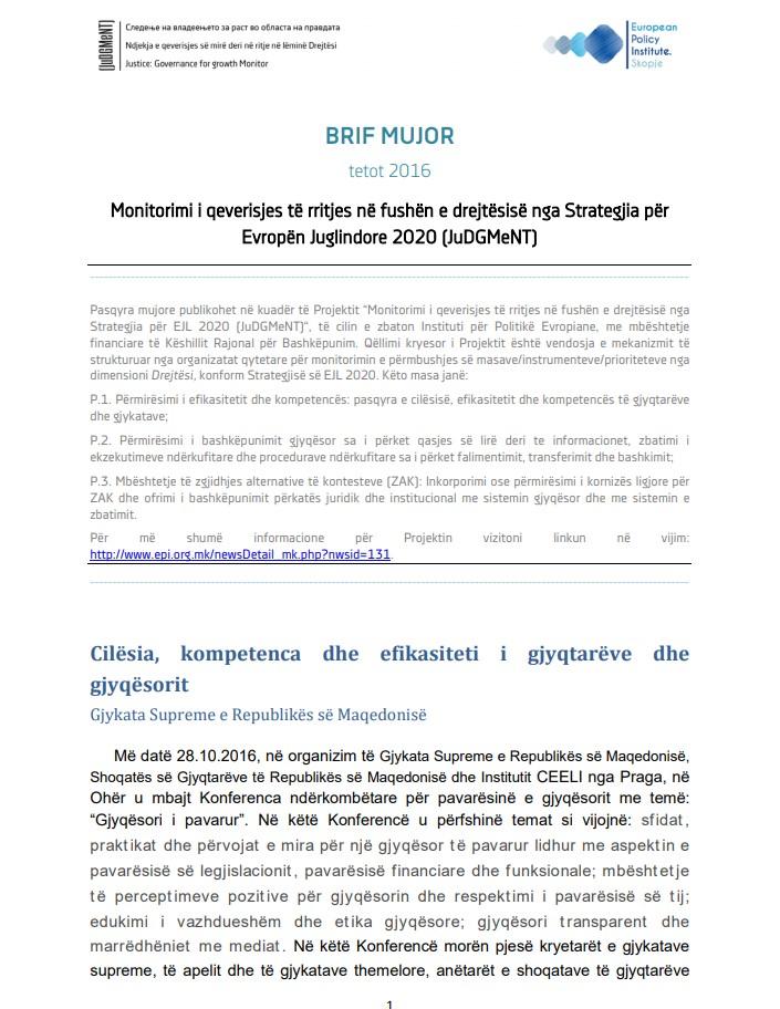 Pasqyrat për muajin tetor të vitit 2016 nga monitorimi i zbatimit të Strategjisë për Evropën Juglindore 2020, dimensioni Drejtësi