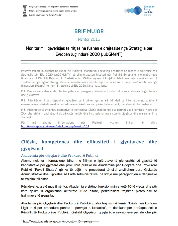 Pasqyrat për muajin nentor të nëntor 2016 nga monitorimi i zbatimit të Strategjisë për Evropën Juglindore 2020, dimensioni Drejtësi