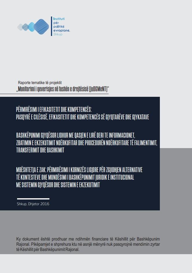 """Raport tematik për projektin """"Ndejkja e sundimit në fushën e drejtësisë (JuDGMeNT)"""" nga EJL 2020"""