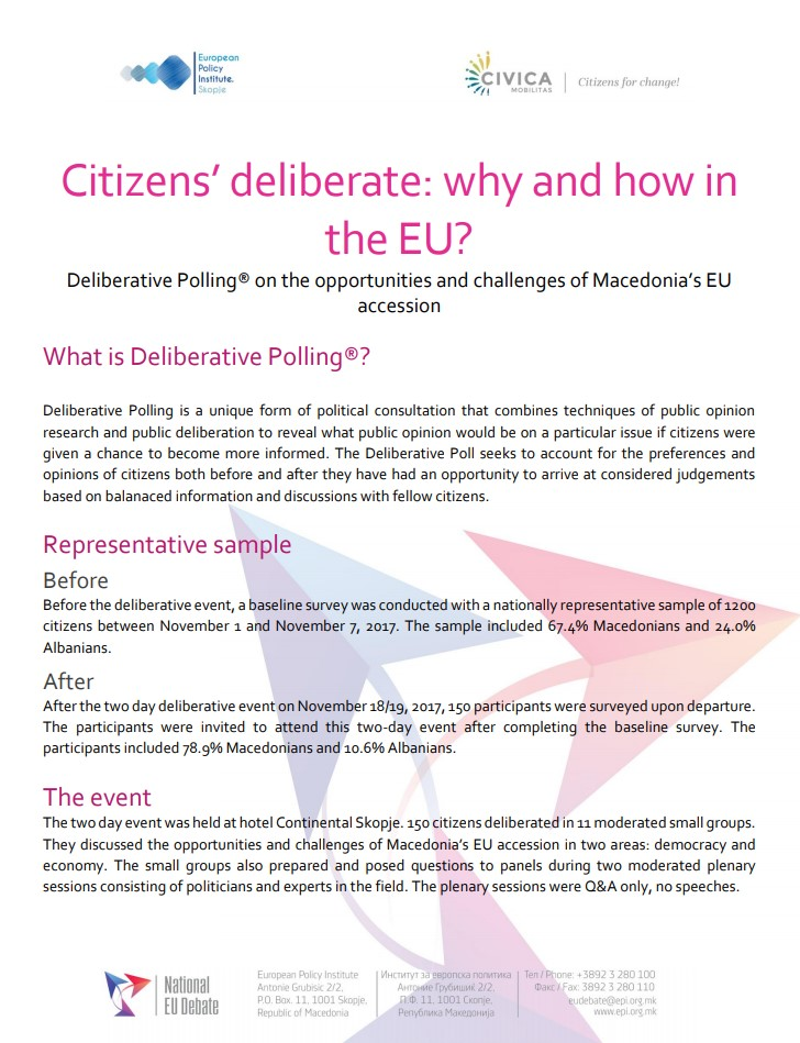 "Resume of results ""Citizens' deliberate: why and how in the EU?"""