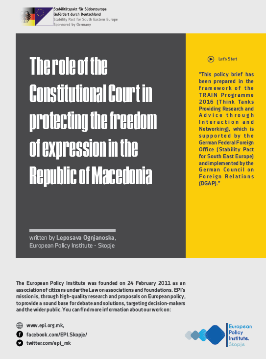 The Role of the Constitutional Court in protecting the freedom of expression in the Republic of Macedonia