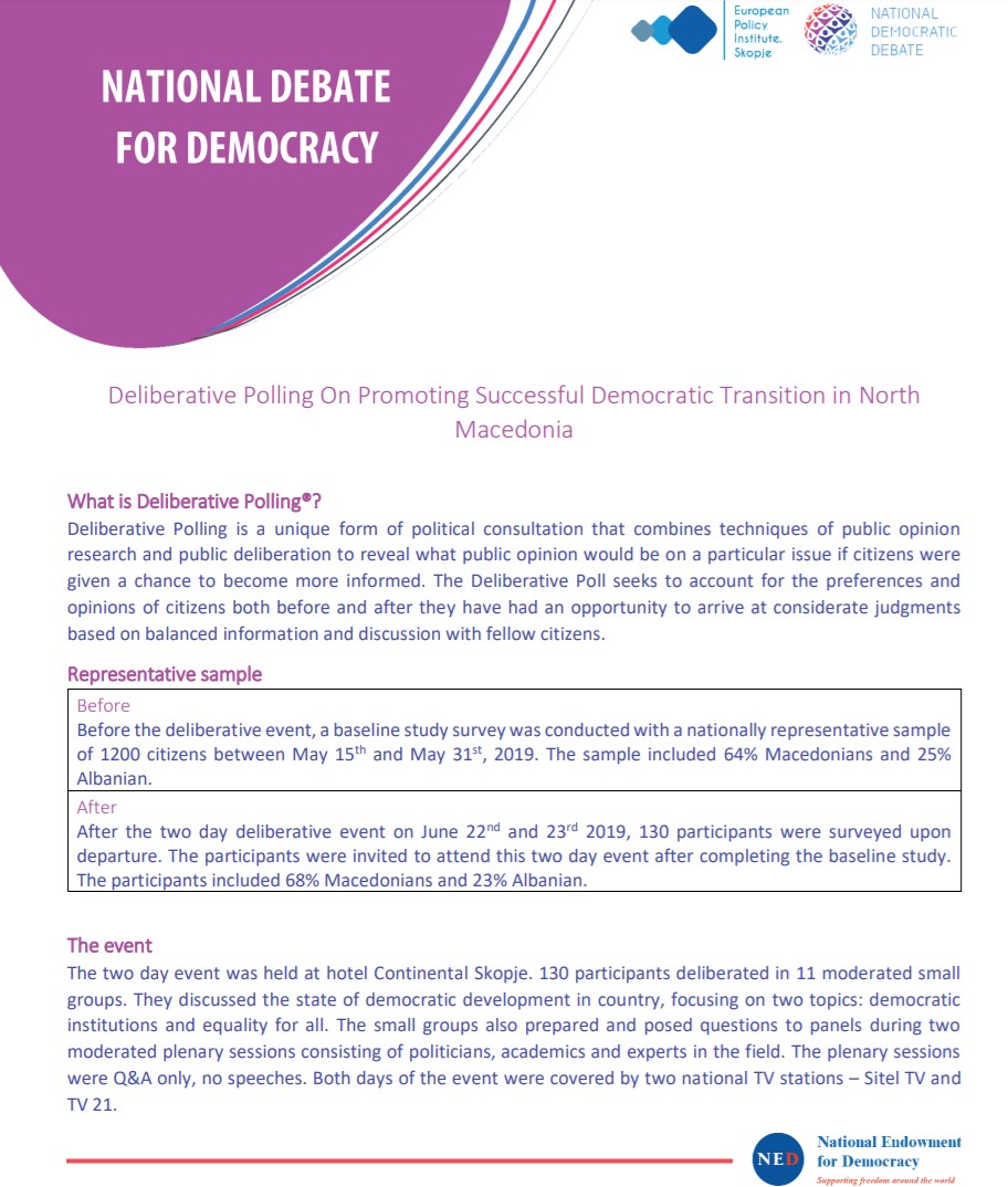 Results from the Deliberative Polling On Promoting Successful Democratic Transition in North Macedonia