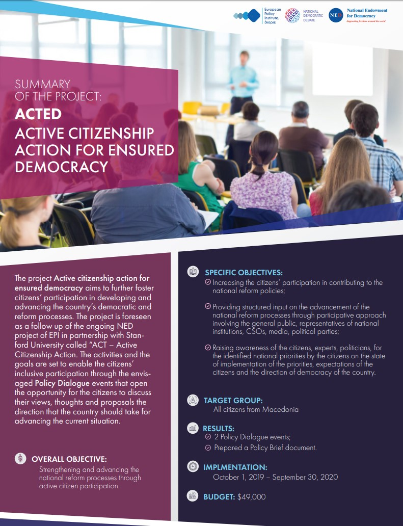 [Summary of the project] ACTED – Active Citizenship action for ensured democracy