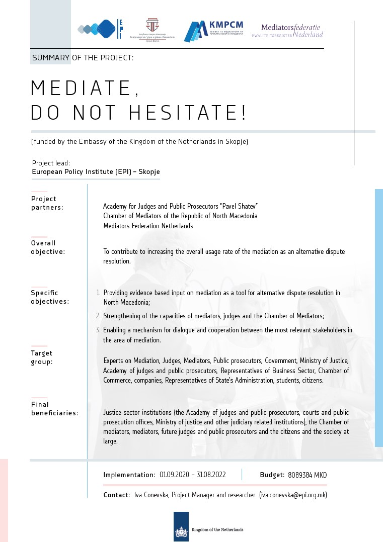 [Summary of the project] Mediate, do not hesitate!